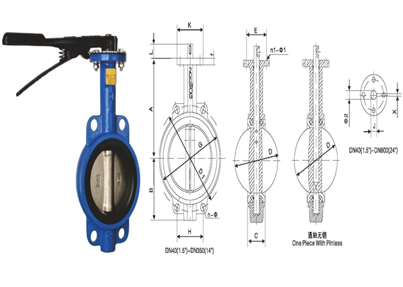 A type wafer butterfly valve D 2