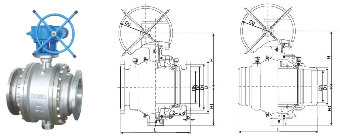 Cast steel trunnion ball valve D