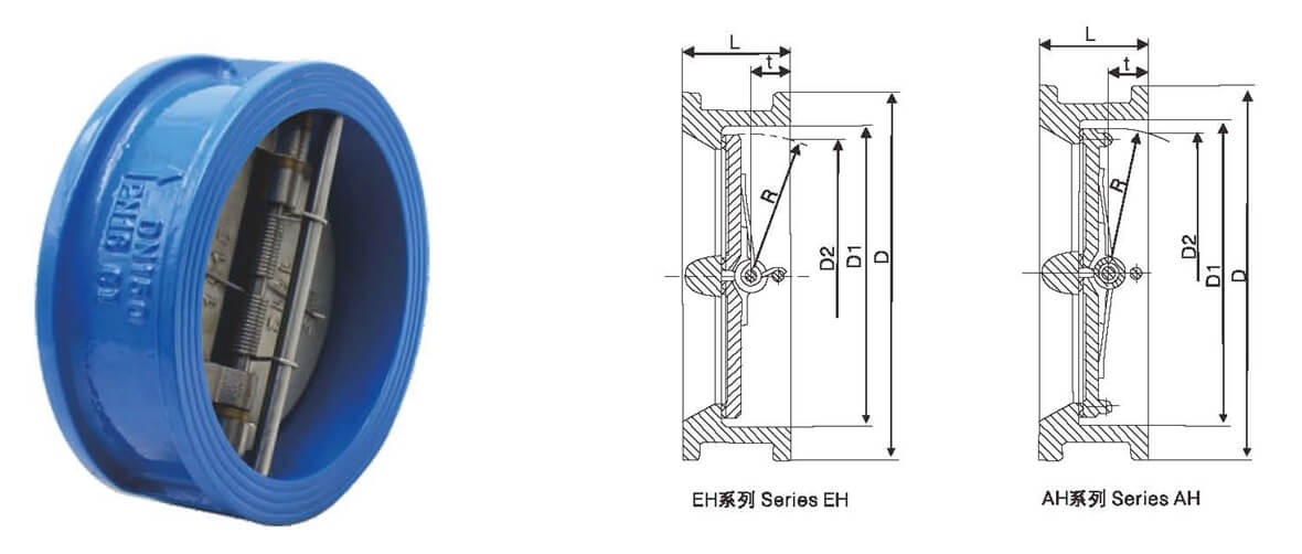 H77X Wafer Type Butterfly Check Valve D